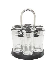 Porta temperos de vidro 7 peças com base giratória luigi bon gourmet