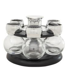Porta temperos de vidro 7 peças com base giratória bon gourmet