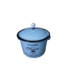 Pote metal esmaltado com tampa olivier wide azul