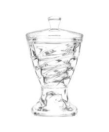 Potiche decorativo de cristal ecológico com pé e tampa facet crystalite bohemia