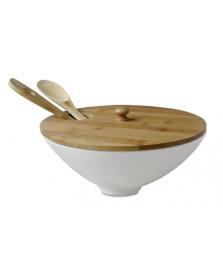 Saladeira com tampa de madeira 25 x 11 cm bencafil