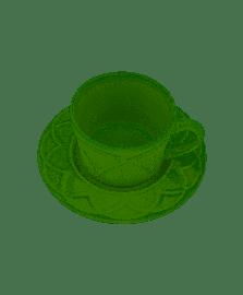 Cj 4 xicaras porcelana p/cafe c/pires iris oliva 80ml wolff