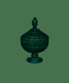 Bomboniere Decorativa Cristal De Chumbo Com Pé Angel Verde 15x24cm Wolff
