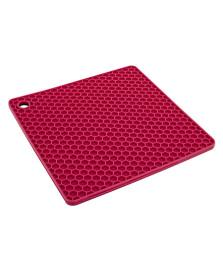 Descanso panela quadrado silicone vermelho euro