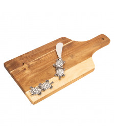 Tabua de madeira com espátula tartaruga em zamac 32 x 15 x 2 cm bon gourmet