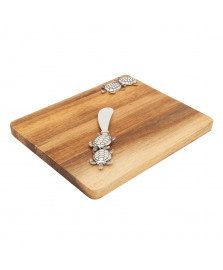 Tábua retangular de madeira com espátula de zamac tartaruga bon gourmet