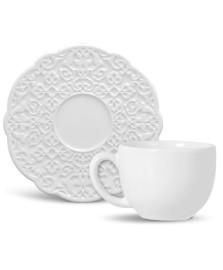 Jogo 6  xícaras chá marrakech branco porto brasil