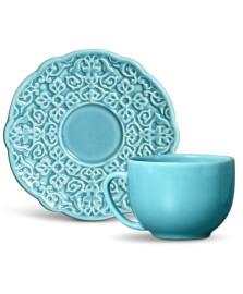 Jogo 6 xícaras chá marrakech azul porto brasil
