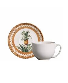 Jogo 06 xícaras chá pineapple natural porto brasil