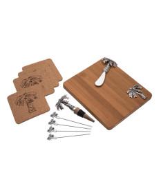 Conjunto 11 pçs para aperitivo com tabua madeira palmeira prateado 30 cm