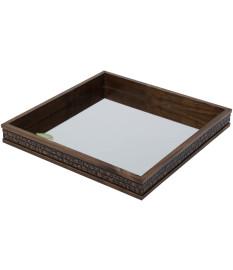 Bandeja madeira c/espelho coquinho woodart 36x36x5cm