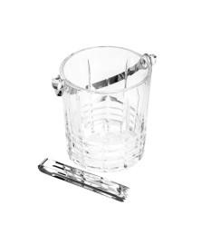 Balde de vidro para gelo com alça e pegador grego bon gourmet 15x13x14cm