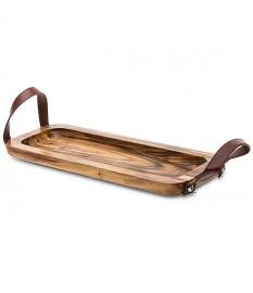 Bandeja de madeira retangular com alca de couro james .f
