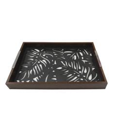 Bandeja madeira c/vidro adam preta 47 x 32 x 5cm woodart